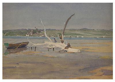 Carl Kessler (1876-1968) : Diessen am Ammersee (Aquarell-Studie)