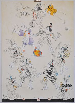 Simon Dittrich : Akrobaten. - Farblithographie, 1983