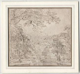 Attr. Franz Kobell (1749-1822) : Federzeichnung in Braun