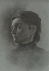 Carl Kessler (1876-1968) : Frauenporträt. - Kohle