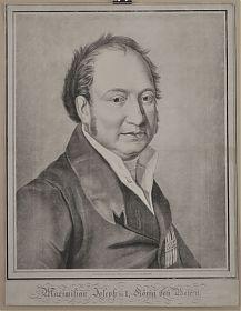 Porträt : Maximilian Joseph I., König von Bayern :  Lithographie von Montmorillon/Stieler, vor 1825 / Antiquariat Joseph Steutzger / Alte Graphik / www.steutzger.info