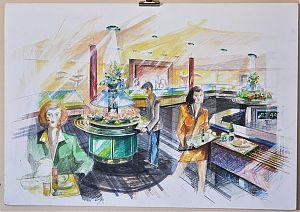Entwurf für ein Gästelokal (Thomas M. Gehring & Partner), Mischtechnik, 1996. - Buch- und Kunst-Antiquariat Joseph Steutzger / www.steutzger.info