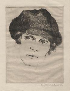 Günther Blechschmidt (1891 Sohra/Freiberg/Sachsen - 1976 Oppach) : Ein junges Fräulein. - Radierung, 1920 // Buch- und Kunst-Antiquariat Joseph Steutzger / www.steutzger.info