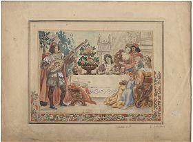 Kaspar Schleibner (*1863) : Das Festmahl. - Aquarell / Kunsthandel Joseph Steutzger / www.steutzger.info / Ankauf Gemälde & Zeichnungen in München und bayernweit