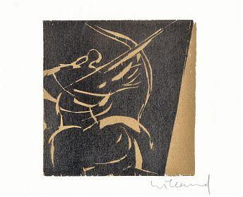 Detlef Willand (*1935) : Bogenschütze / Farbholzschnitt// Antiquariat Joseph Steutzger / Graphik-Ankauf - https://ankauf-grafik.de