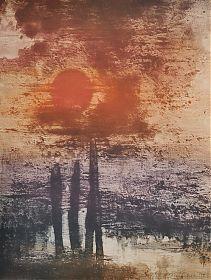 Rupert Rosenkranz (1908 Aichdorf/Österreich-1991 Hamburg) : Vor der Nacht. - Elektrographie, 1976 - https://ankauf-grafik.de -  Ankauf Graphik & Gemälde in München