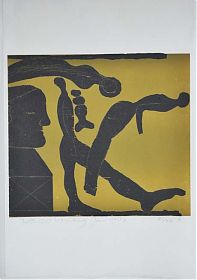 Wilhelm Neufeld : Figuration. - Farbholzschnitt, 1977 - Ankauf moderne Graphik - Antiquariat Joseph Steutzger