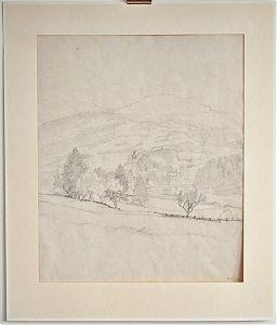 Rudol Sieck : Im Chiemgau. - Bleistiftzeichnung / Kunsthandel Joseph Steutzger / Ankauf Gemälde & Zeichnungen