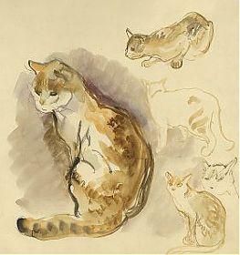 Anonymus: Katzen-Studien. Aquarell / Kunsthandel Steutzger