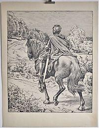 Hans Thoma : Ritter / Kombinationsdruck (~ Algraphie), 1895 / 1896