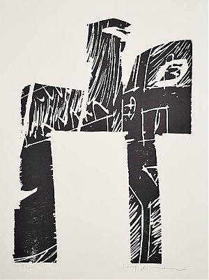 Rudolf Ackermann : Reiter / Holzschnitt